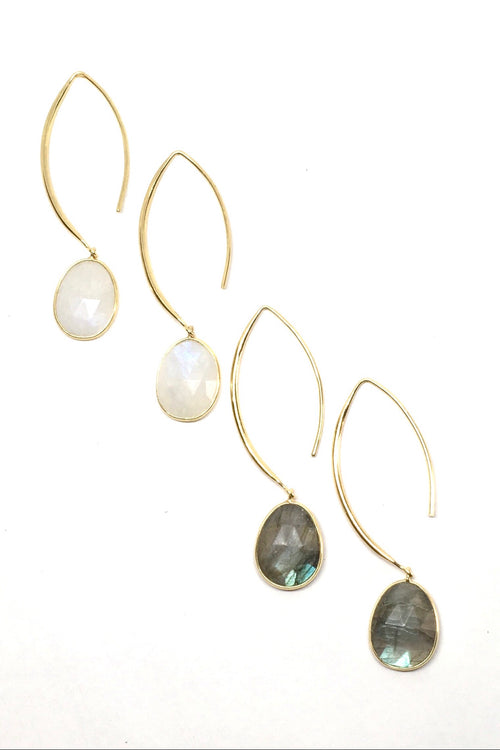Oracle Earrings Golden Swoosh Labradorite or Moonstone