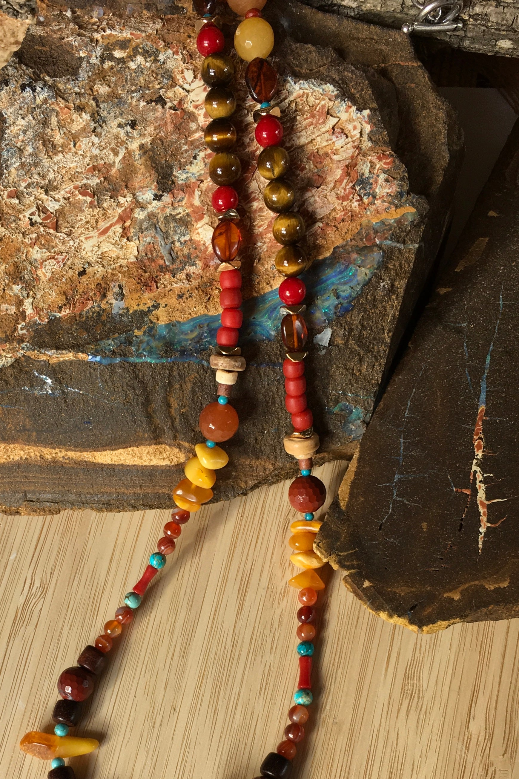 Necklace Cay Tiger Earth with Natural Gemstones