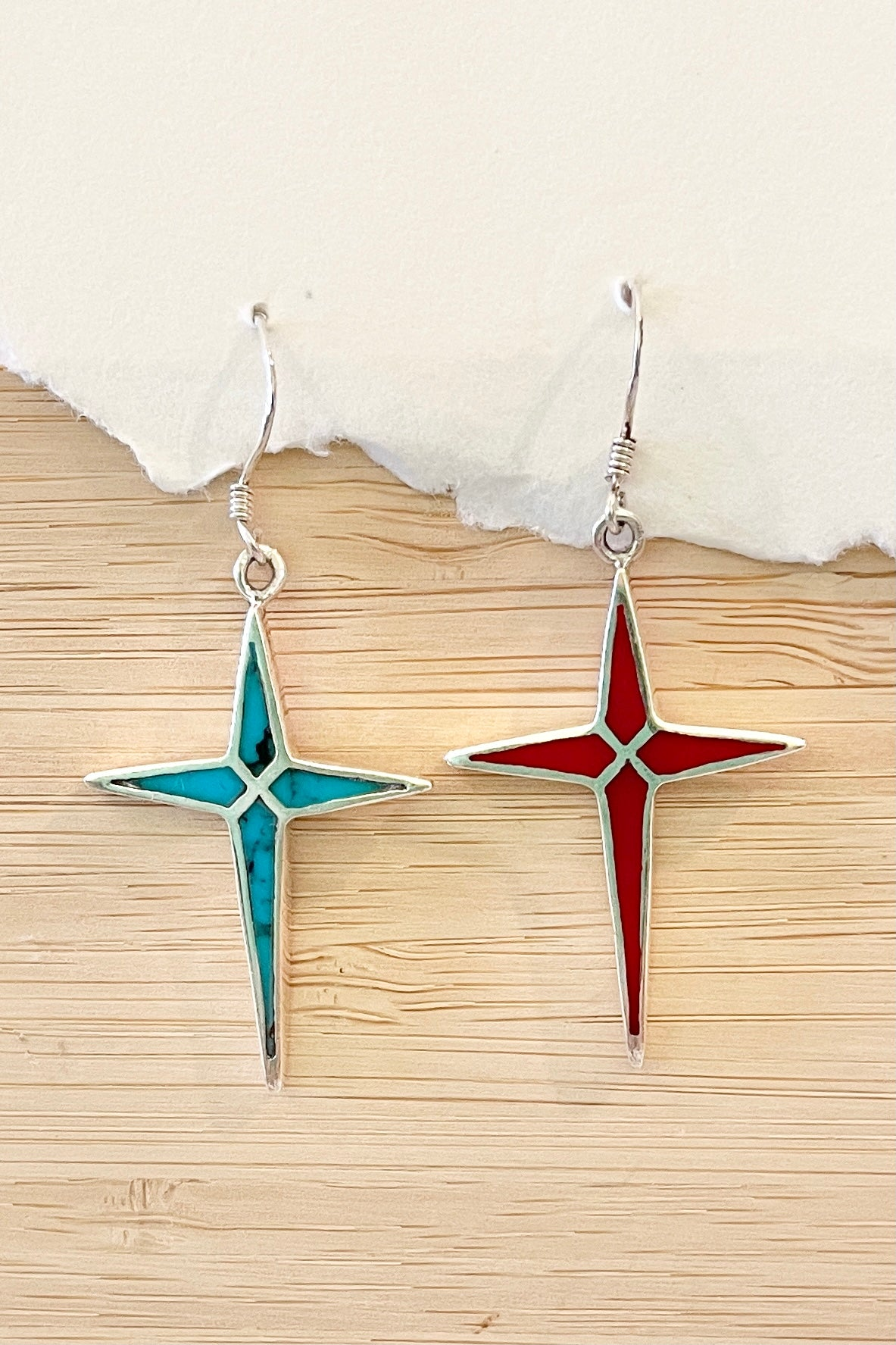 Turquoise and red star earrings, these dainty colourful earrings are made in 925 silver inlaid with resin colour