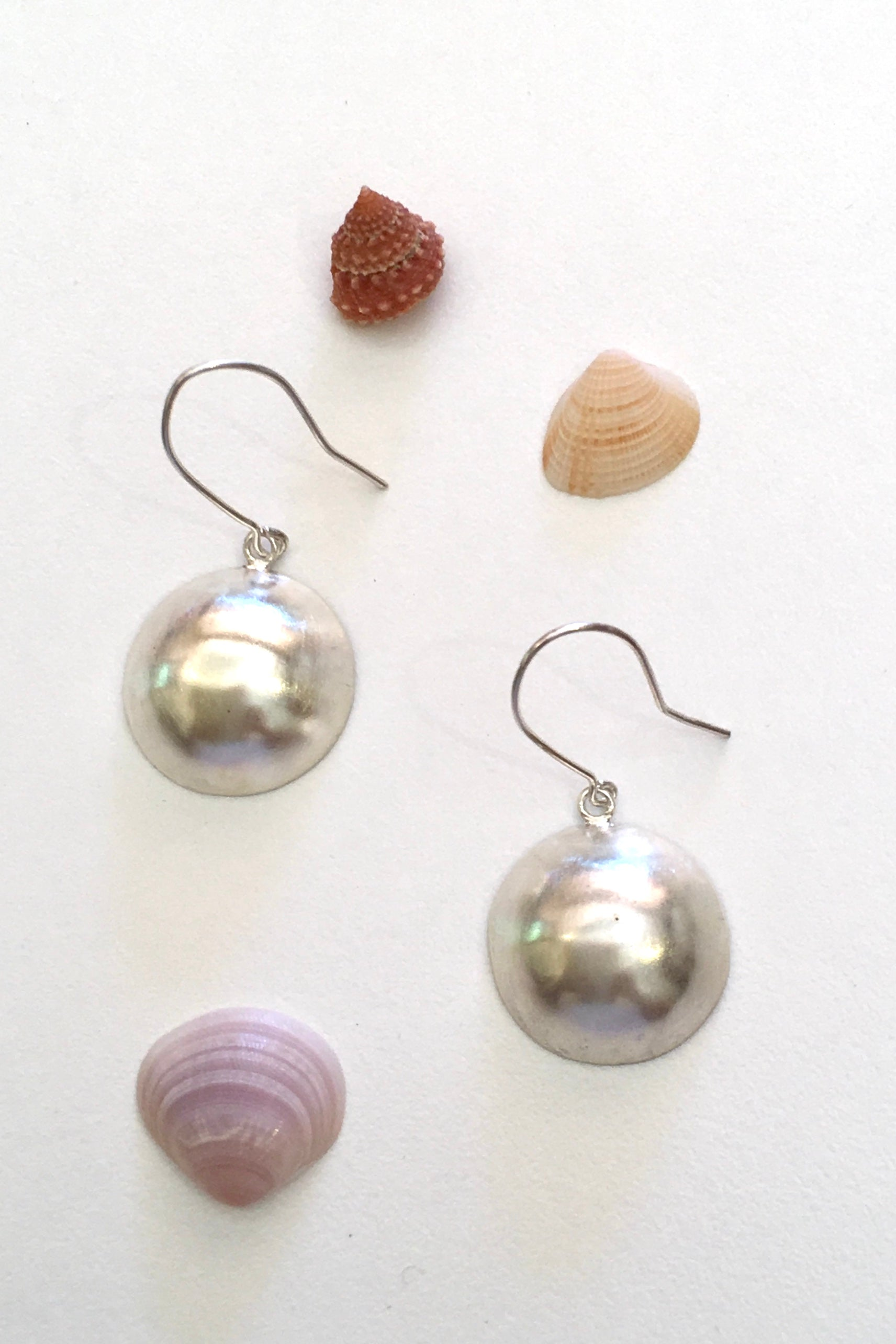 Silver Single Dome Earrings, 925 Silver Brushed Satin Finish Earrings