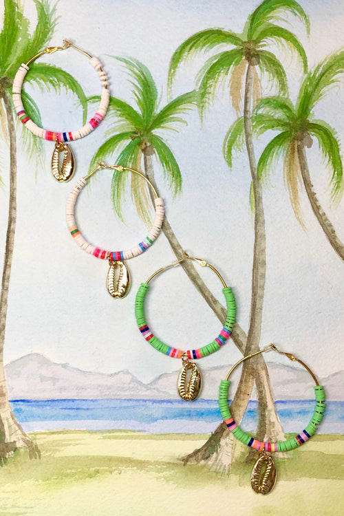 Earring Summer Cowrie Hoop in Lime or White
