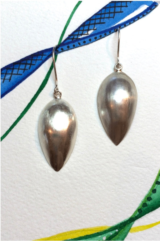 Silver Domed Tea Earrings, 925 Silver Brushed Satin Finish Earrings