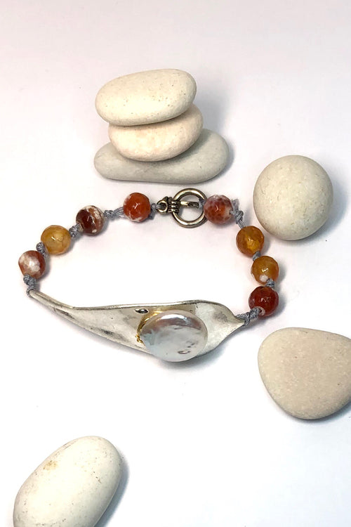Bracelet Pebble Carnelian Leaf