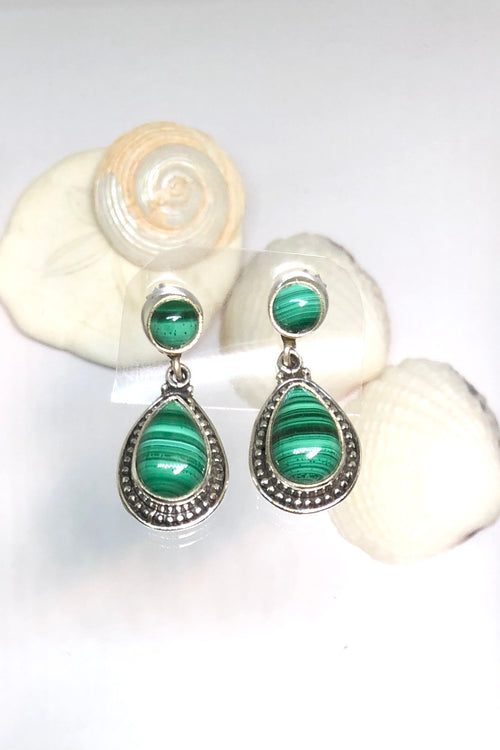 Oracle Earring Orb Drop Malachite Cabachon in Silver