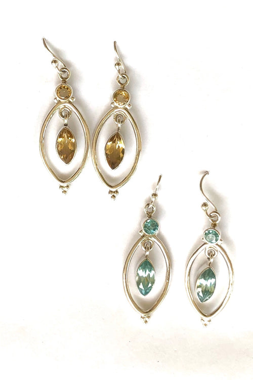 Oracle Earrings Sunlight in 925 Silver with Blue Topaz or Citrine