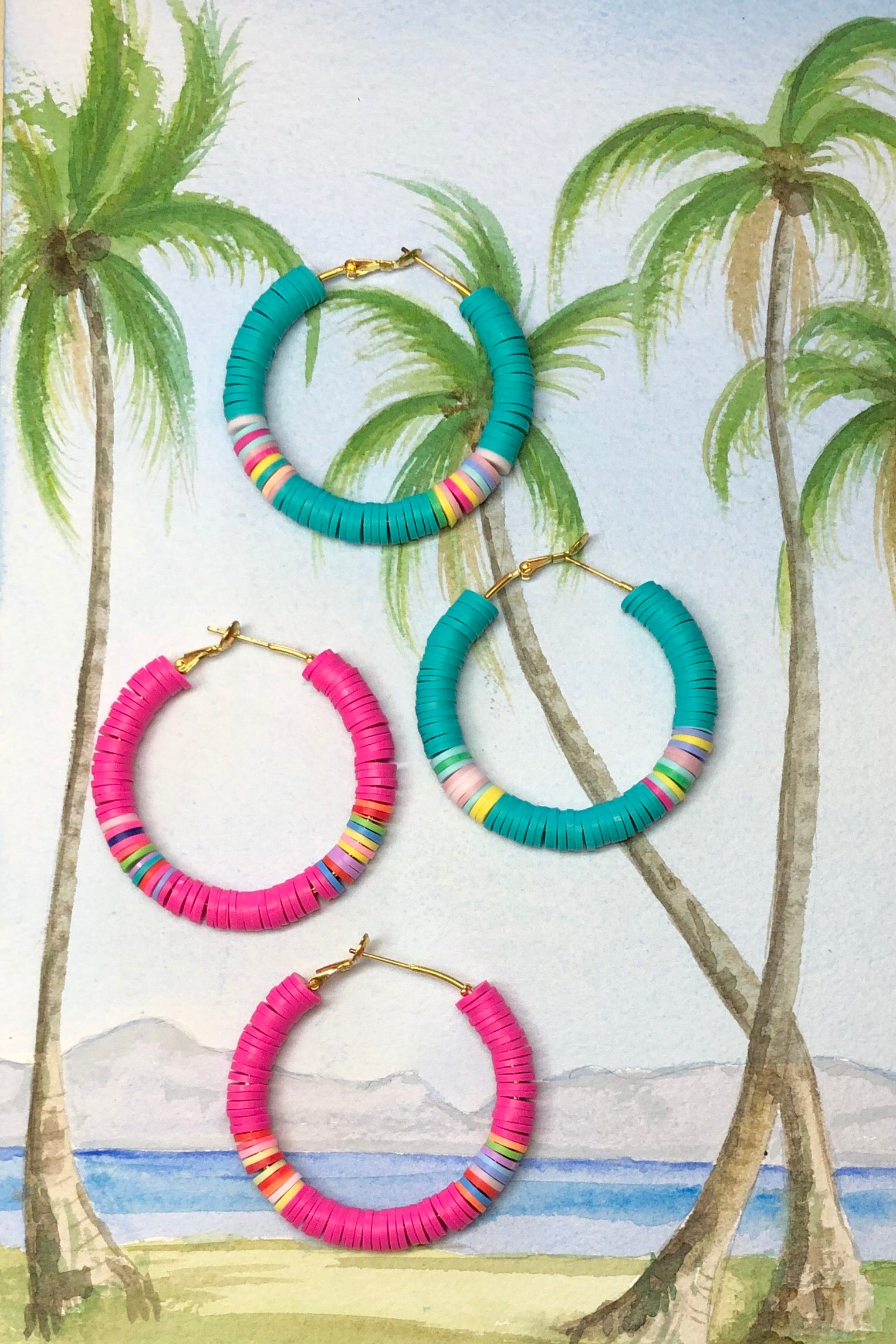 Our Summer hula hoop is made with heishi style beads in amazing fun bright colours, really cool and island styled
