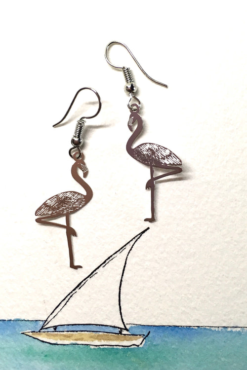 Earrings Fluttery Flamingo Silvery