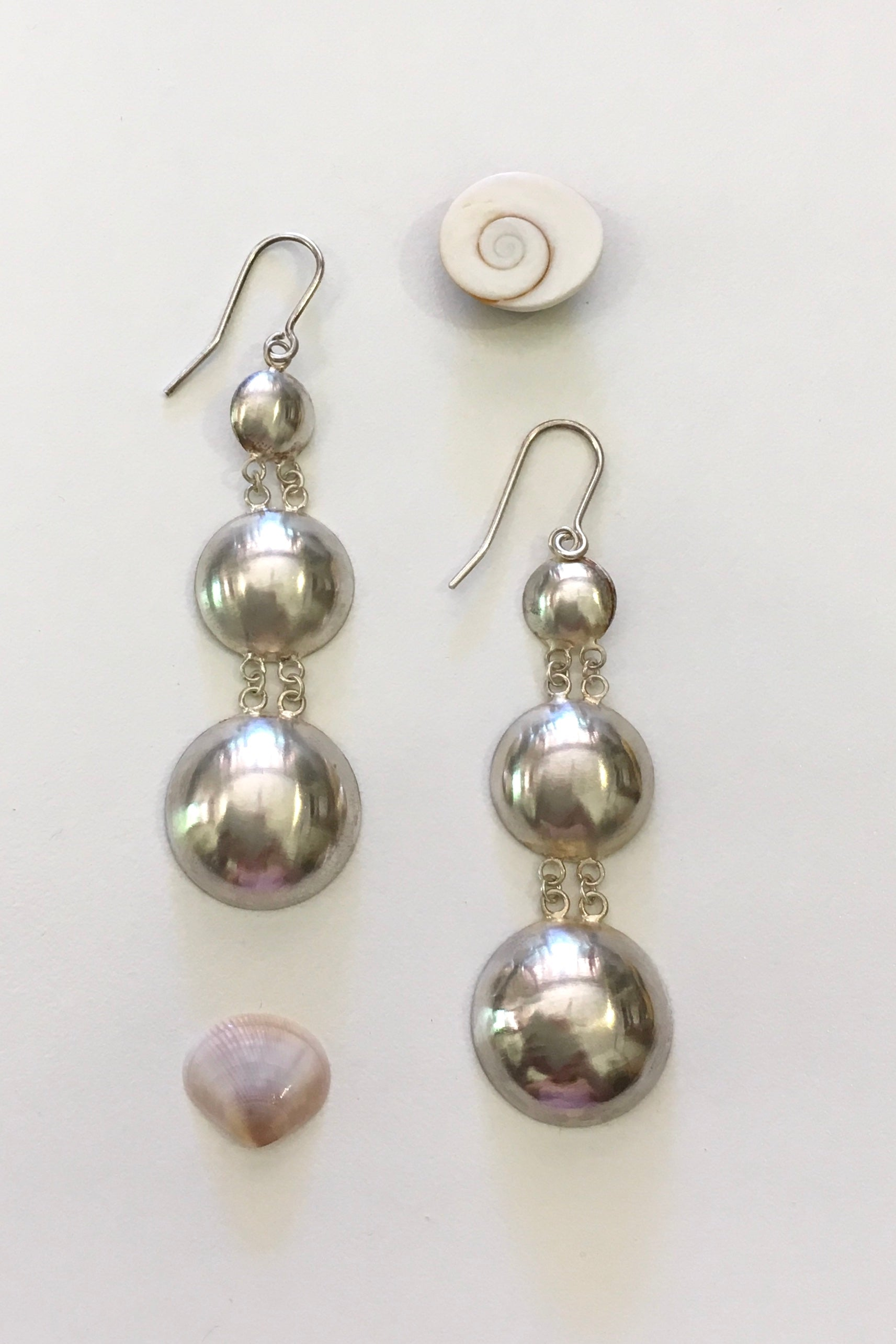 Silver Three Dome Earrings, 925 Silver Brushed Satin Finish Earrings
