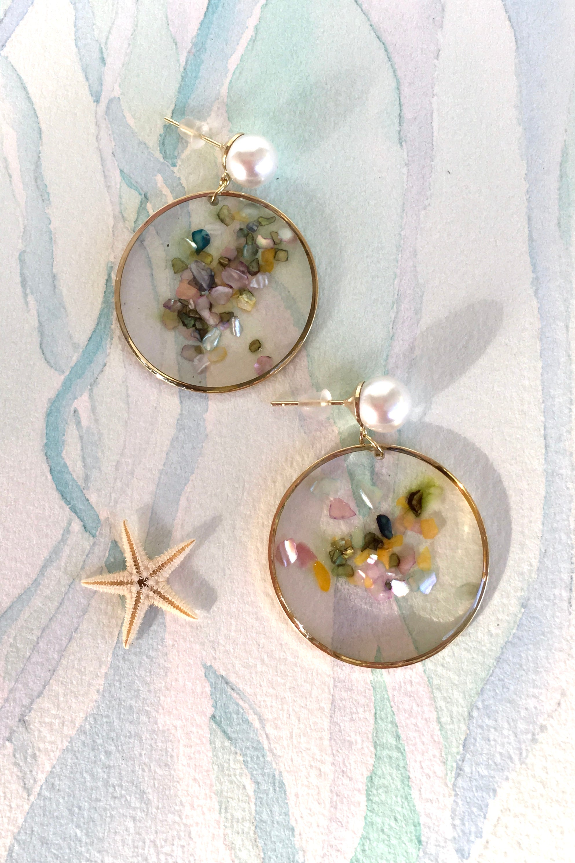 Earrings Opalescent Disk