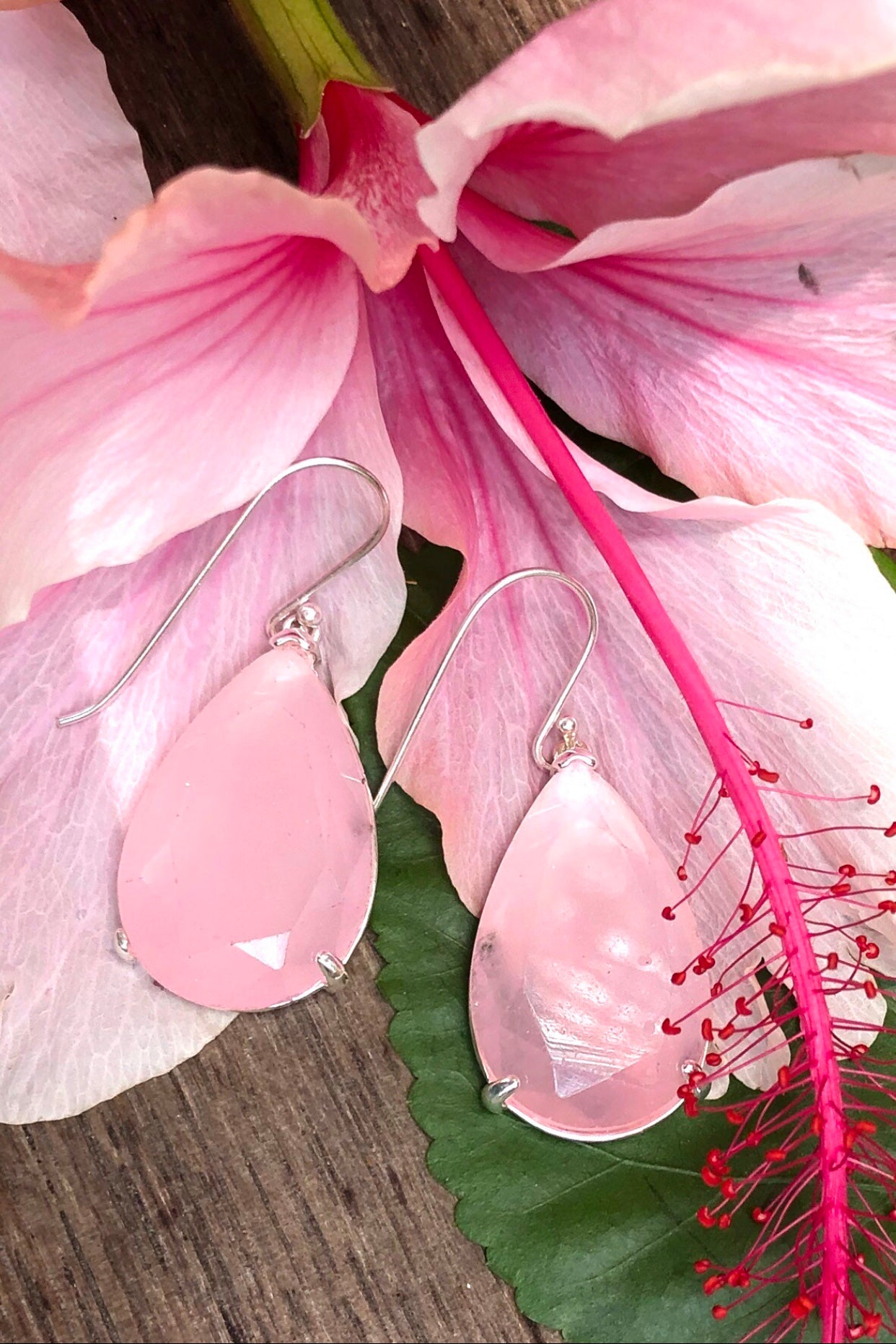 Beautiful dew drop earrings of crystallised stones in Rose Quartz or Emerald Green