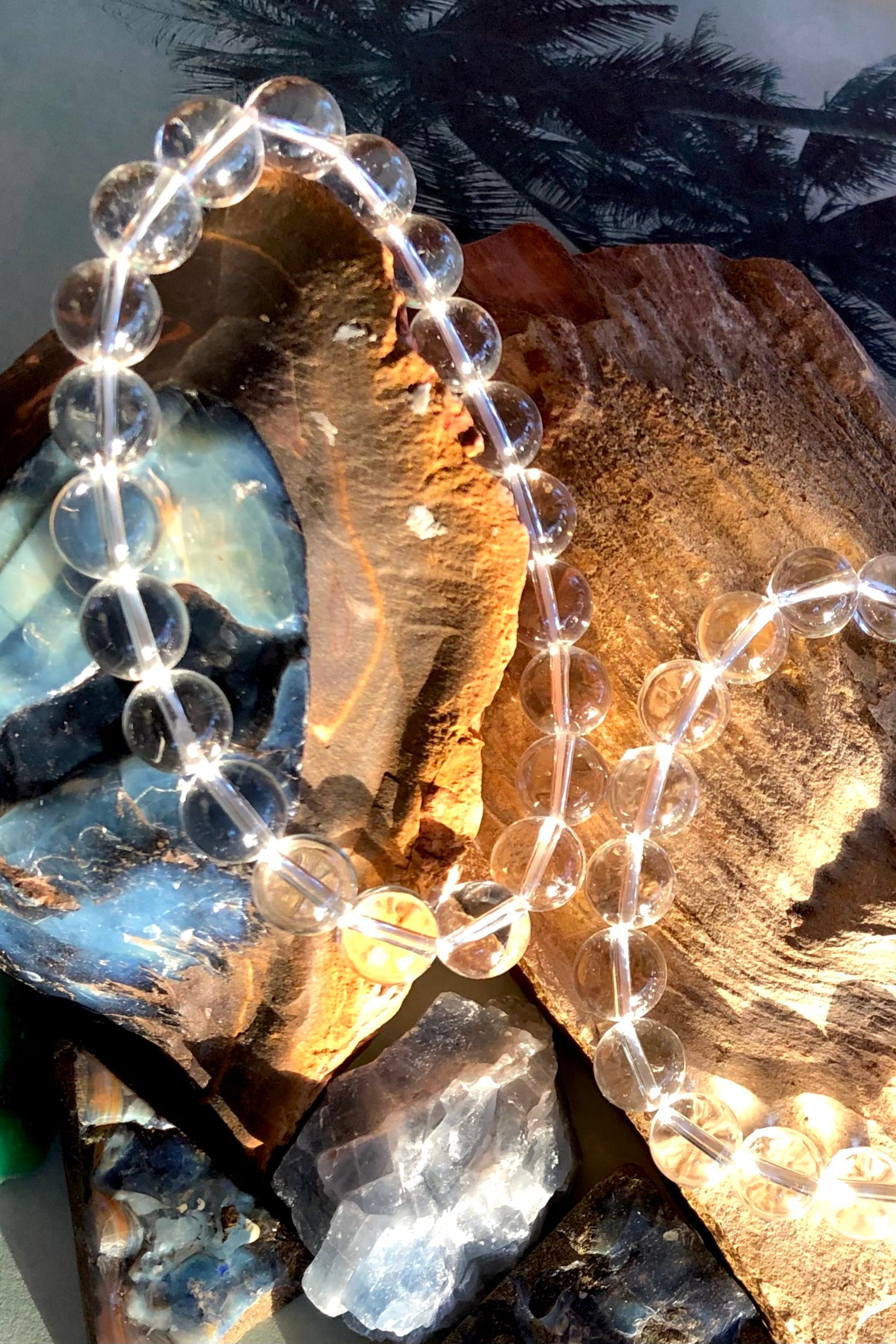 a pretty gemstone bracelet, in clear rock crystal on a stretch band this is perfect for summer.