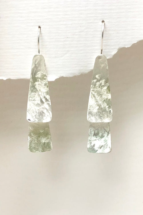 Earrings Flat Geo Multi Drop in Laser Finish 925 Silver