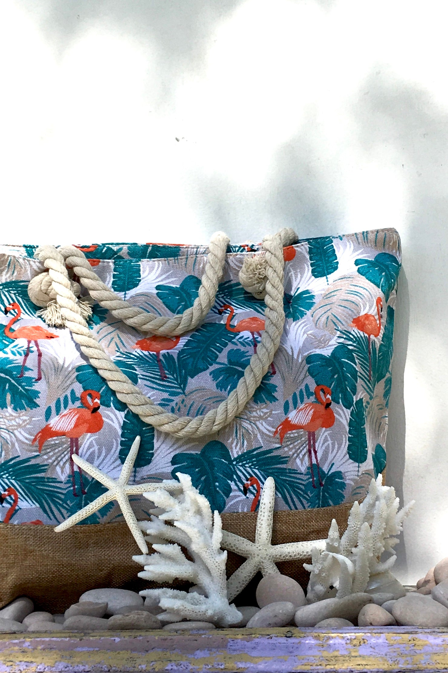 Yeah Canvas Beach Bag, big rope handled shopping bag in tropical style, bohemian luxe fashion