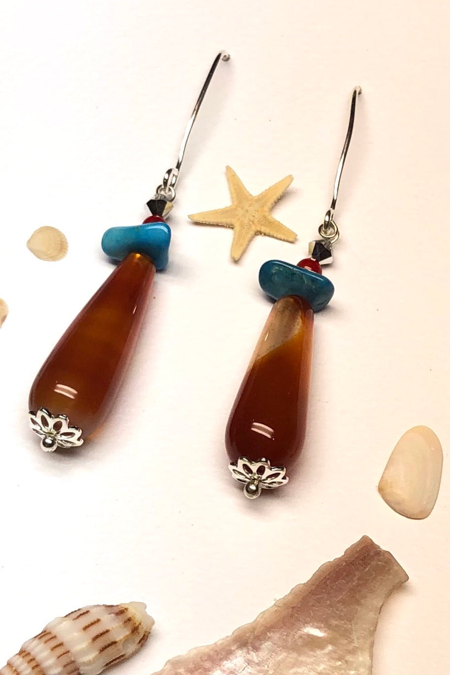 hese earth toned teardrop earrings will be attracting only the best vibes and loving energy to you.