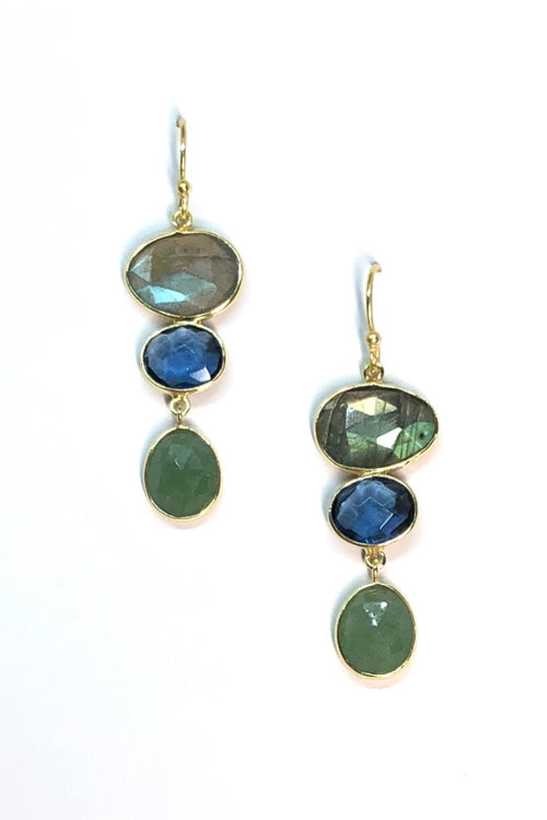 Oracle Earrings Golden Blue Moons 2