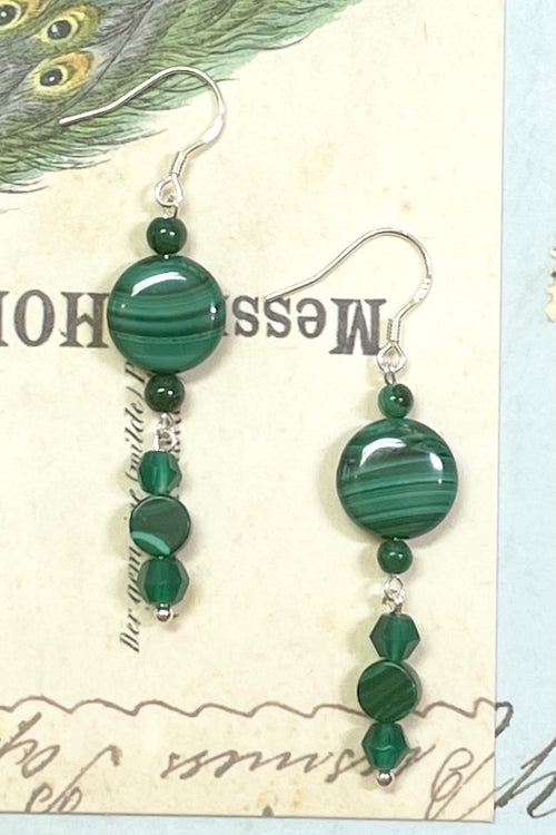 Earrings Samara Malachite Beads