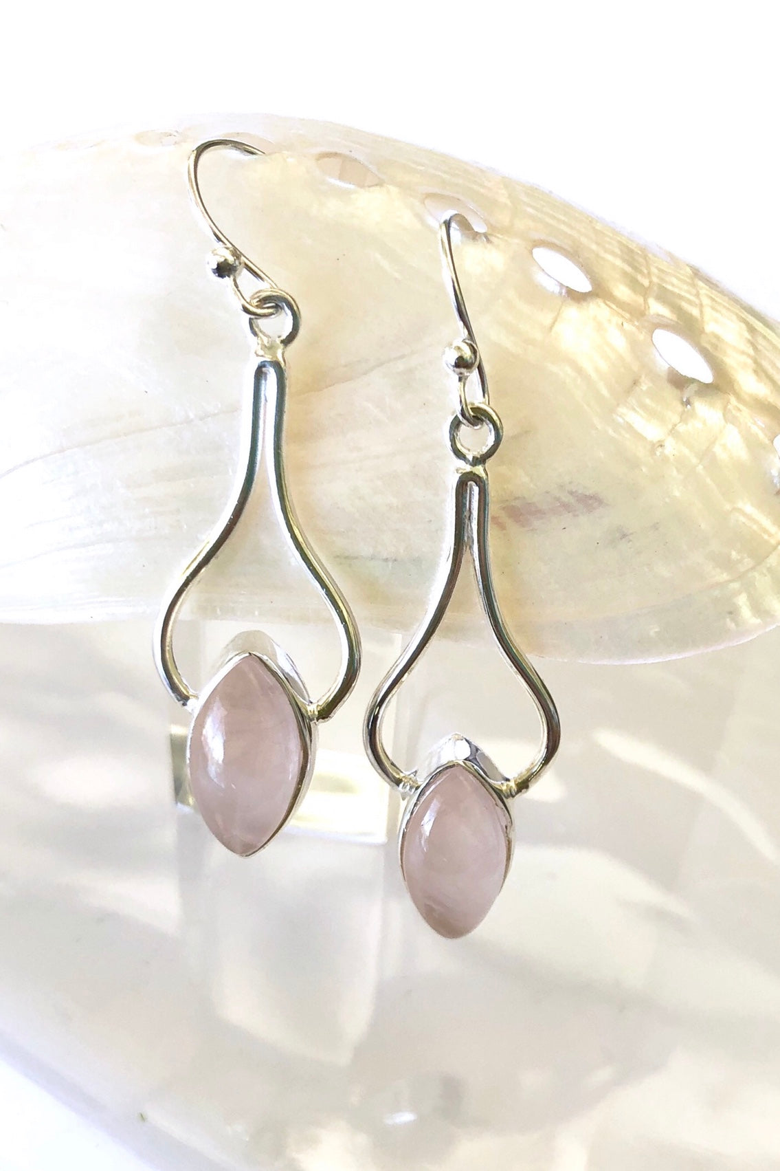 Rose quartz and silver statement 925 silver earring