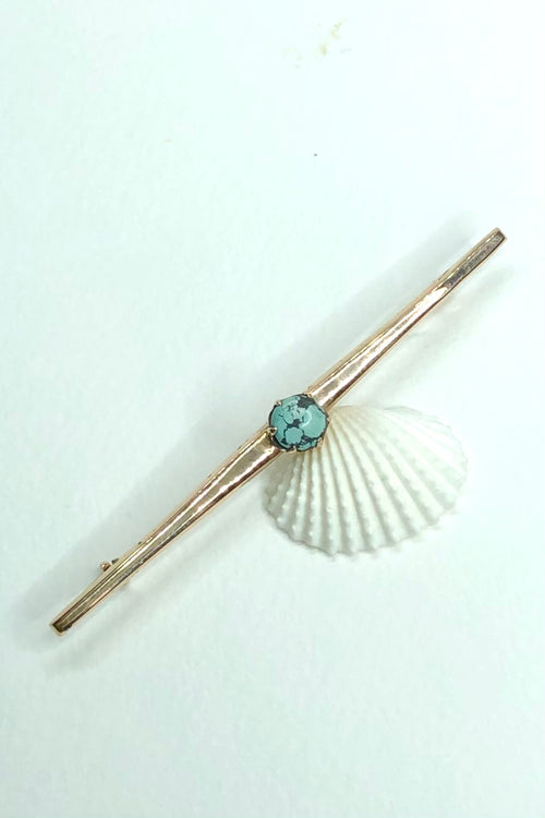 Antique Bar Brooch with Turquoise
