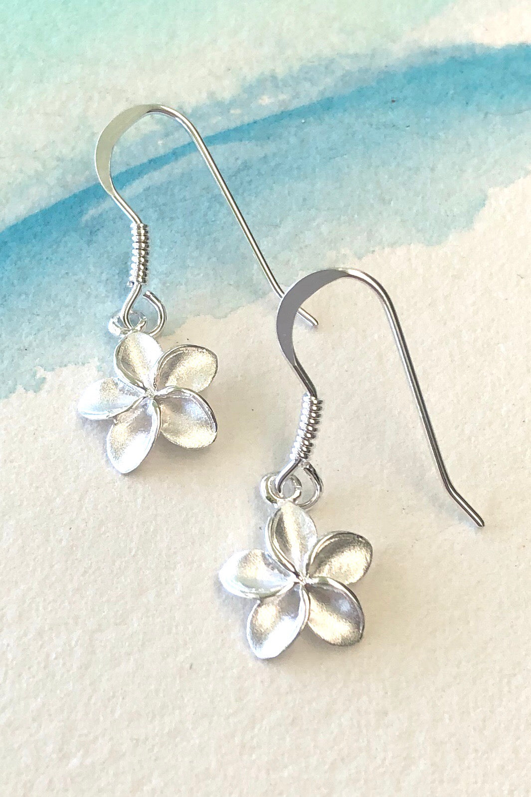 tropical hibiscus 925 silver drop earrings