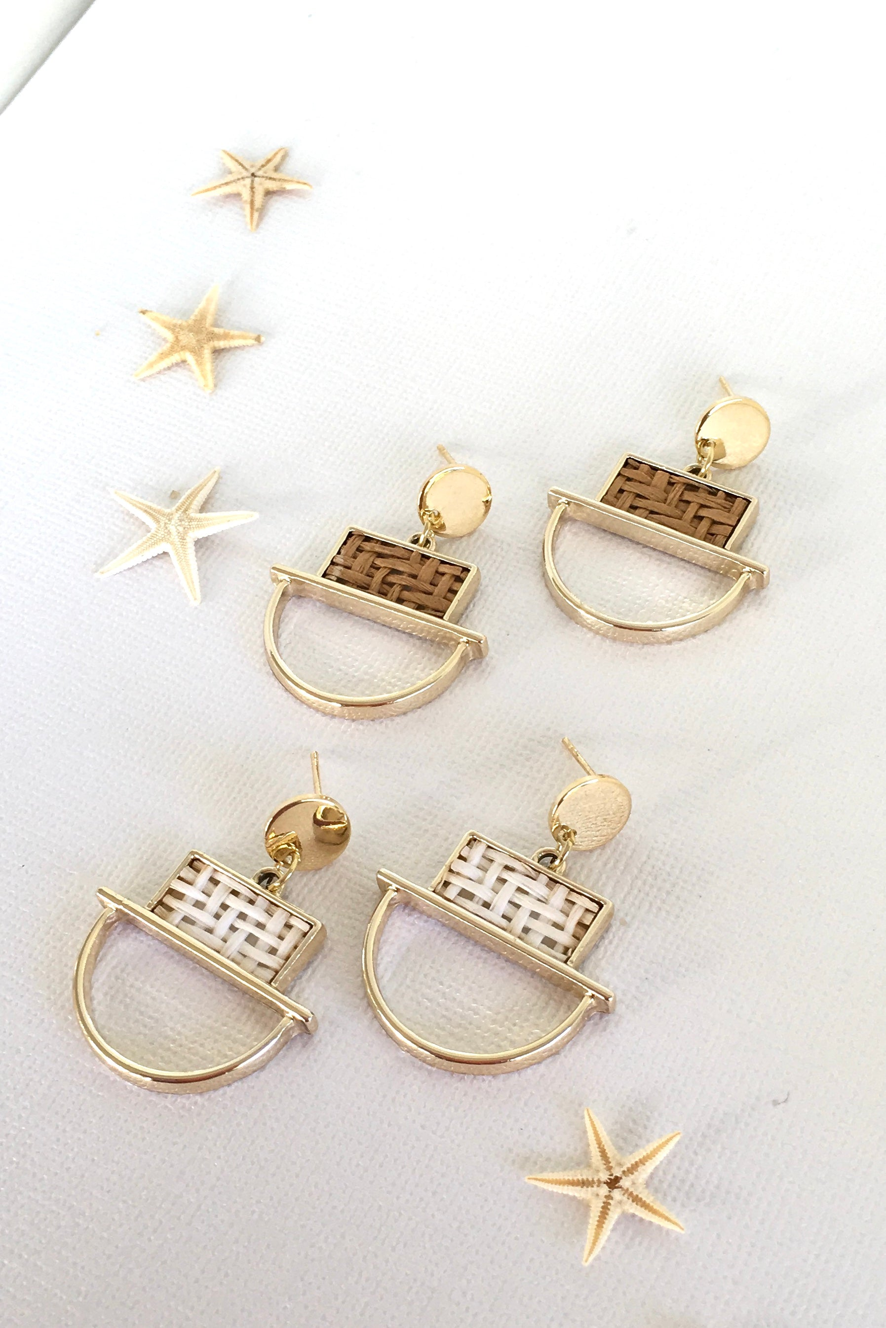 Earring Summer Weave Angles Tan or Cream