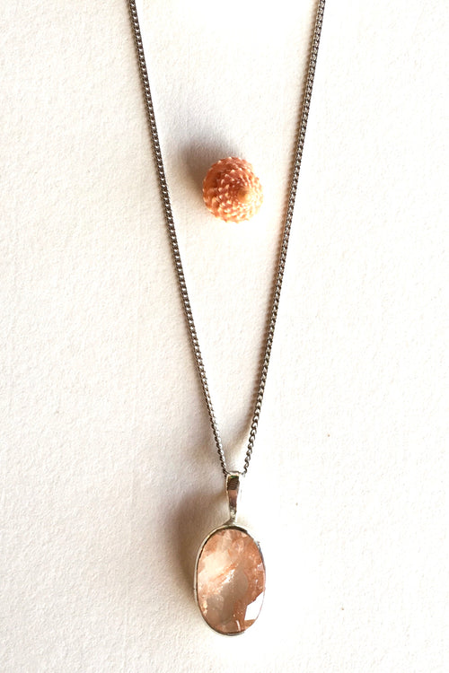 Pendant of Sunstone on a Silver Chain 2