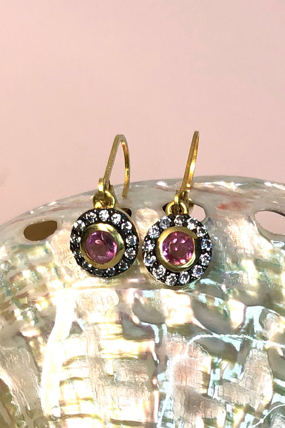 Oracle Earrings Honore is a . Vintage design modern earrings featuring Hydro garnet and Set in 9ct gold vermeil.