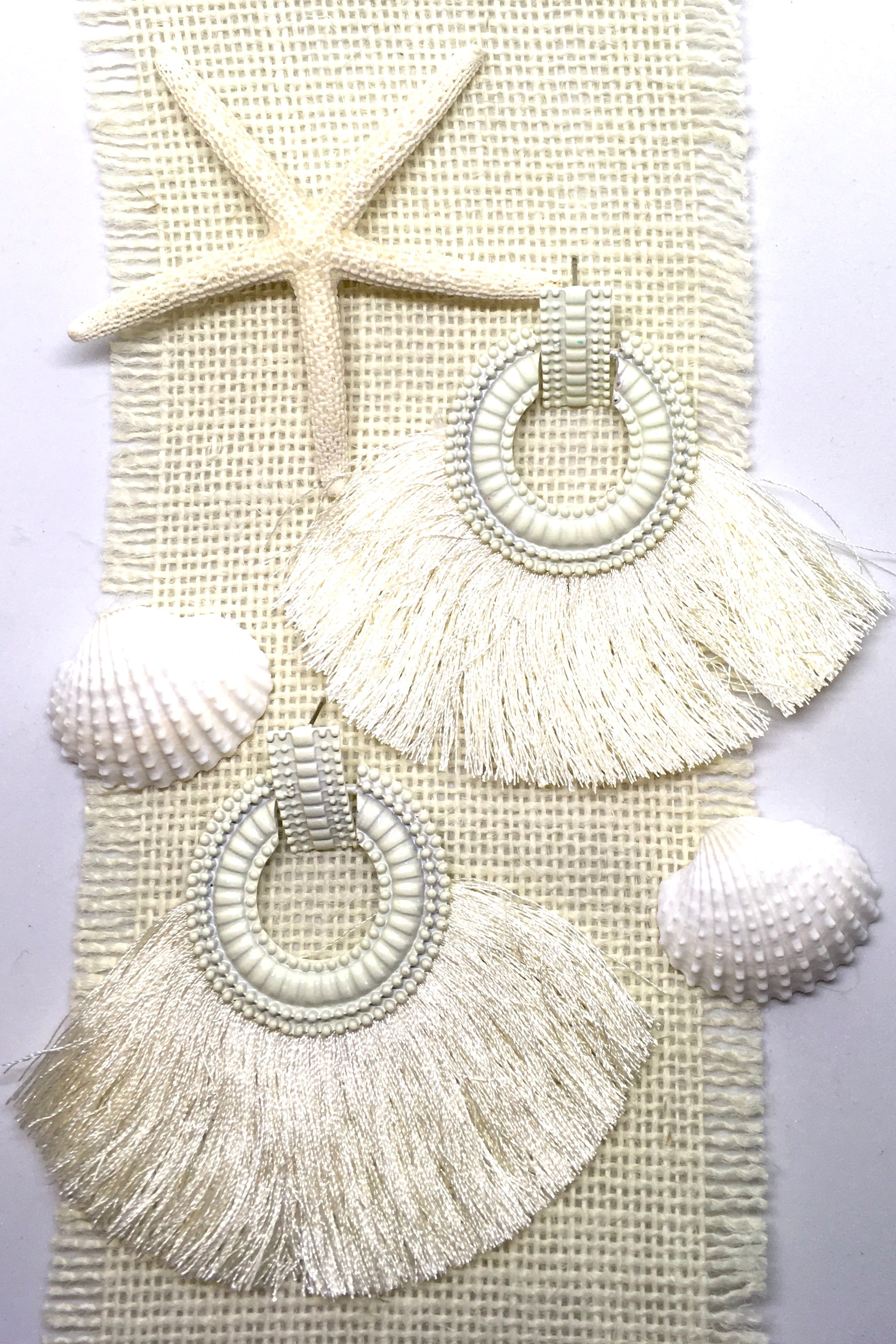 Earrings Adore with Cream Fringe, tassel earrings for summer
