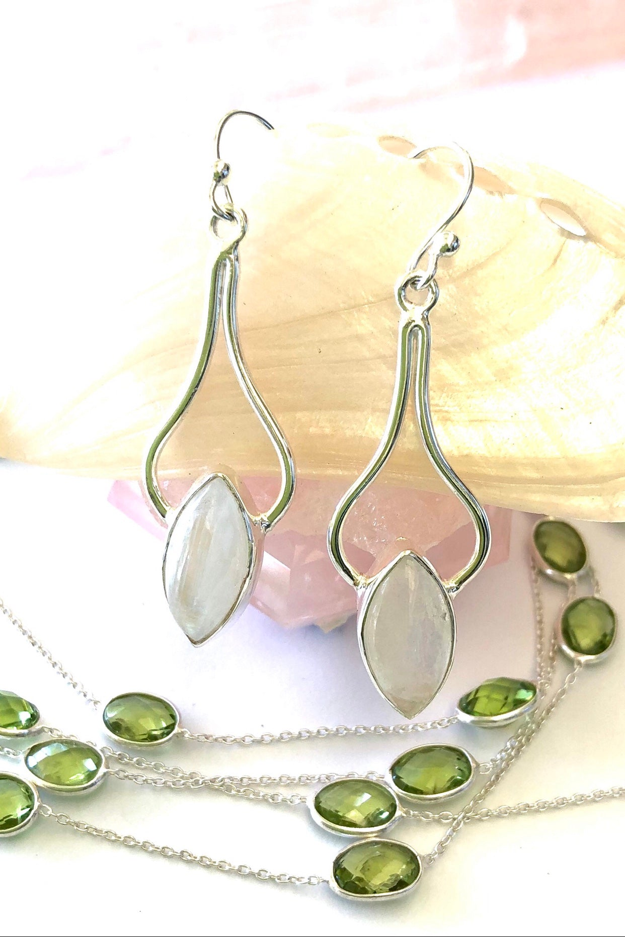 moonstone gemstone in a silver earring