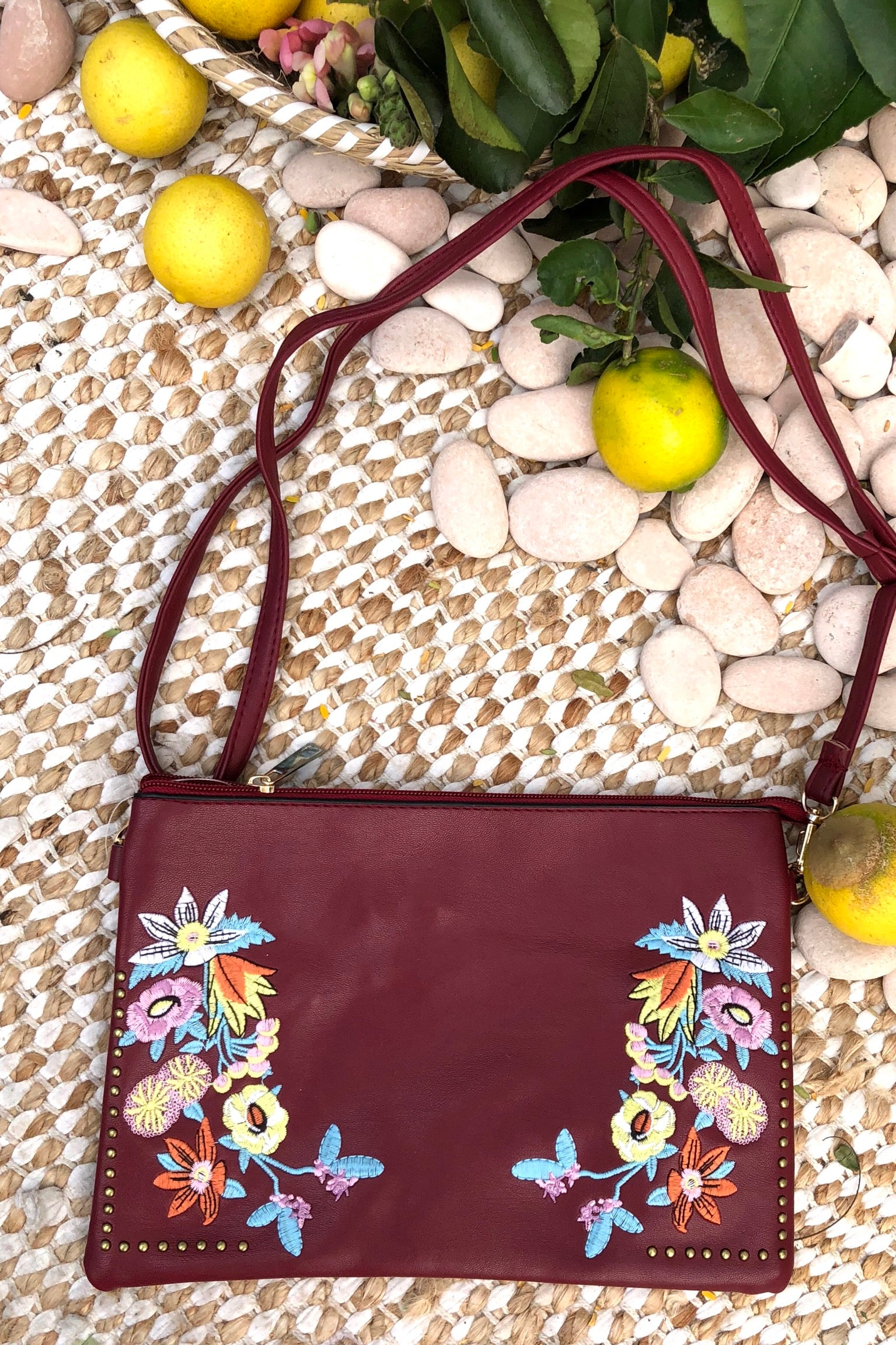 Yeah Clutch Bag with Boho Style Embroidery Red