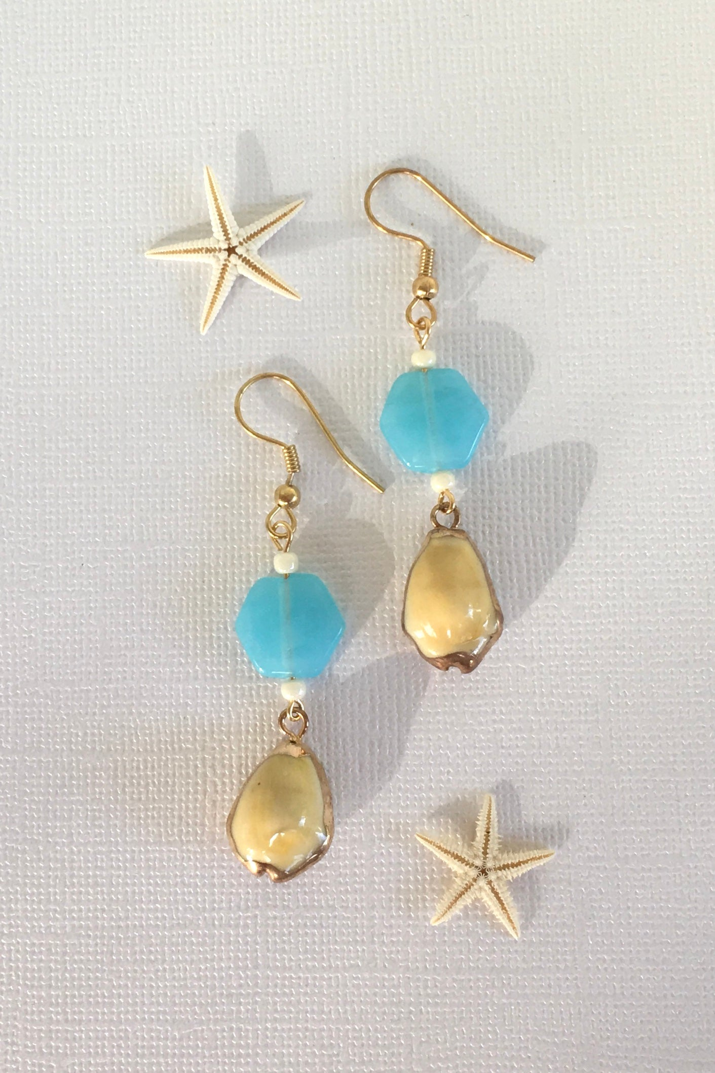 Earrings High Tide Yellow Cowrie Shell Turq Bead