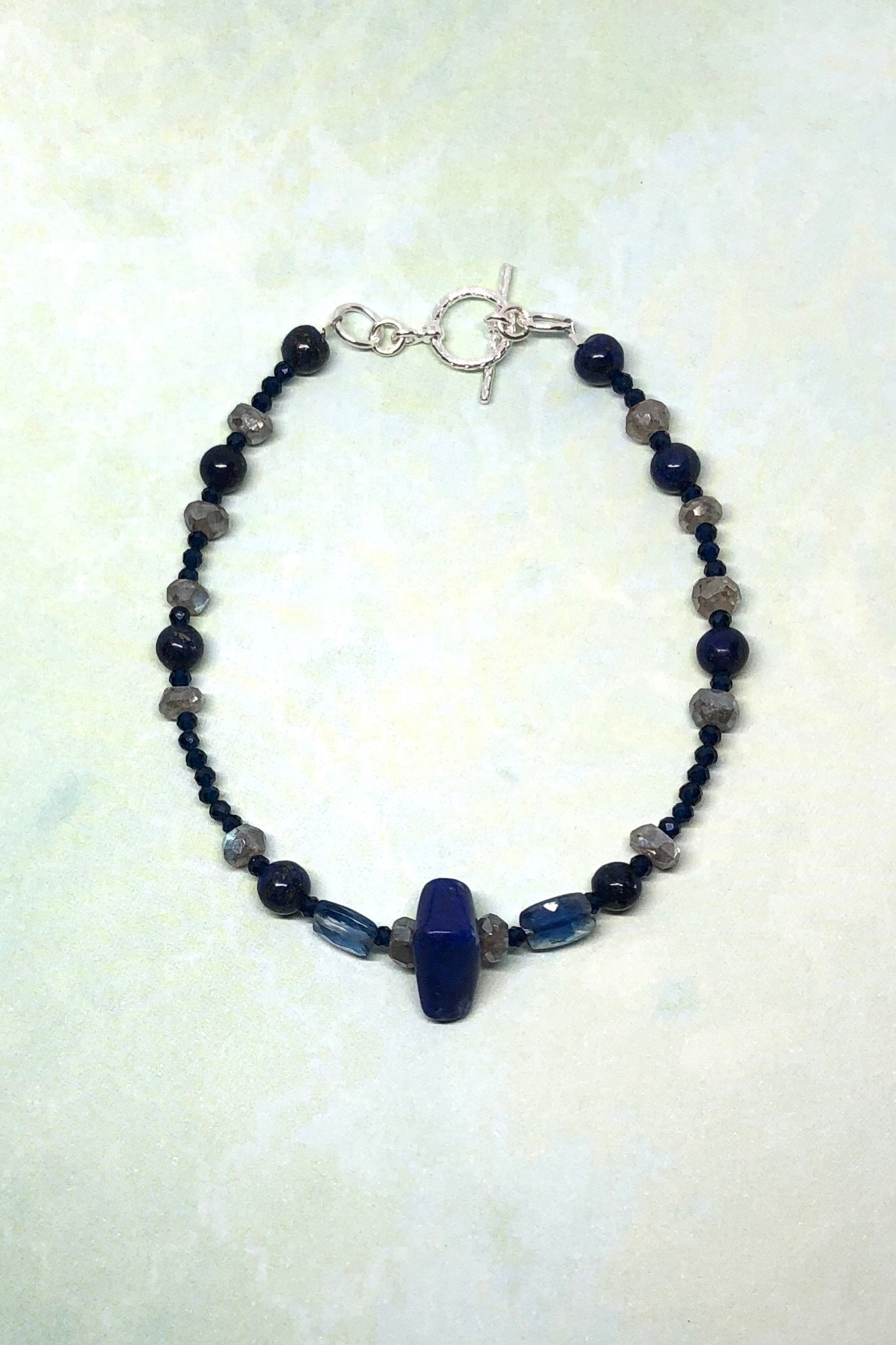 Lapis Lazuli and blue Iolite in such a pretty bracelet style. DETAILS: