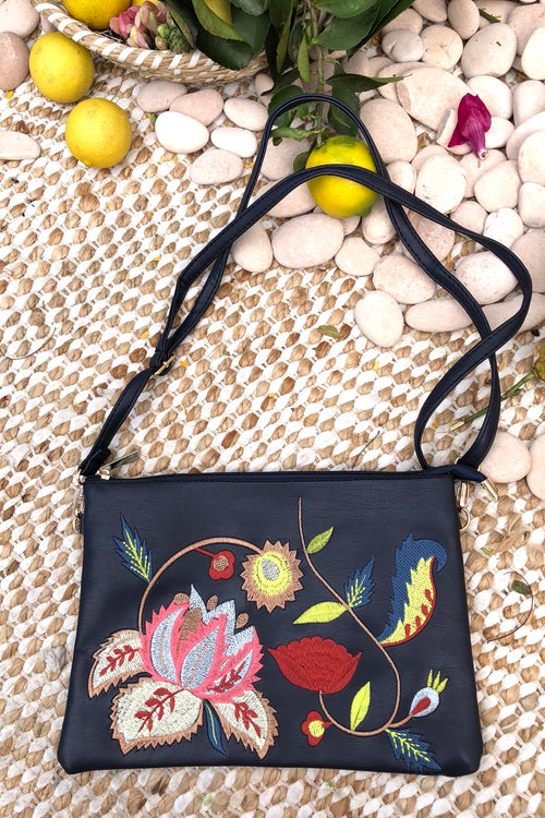 Yeah Clutch Bag with Boho Style Embroidery Navy