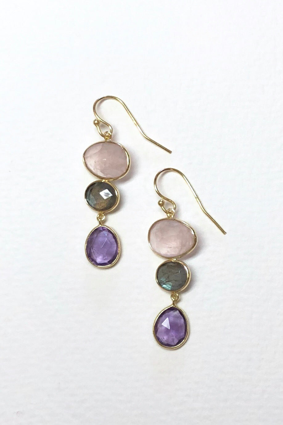 Oracle Earrings Golden Pink Moons sport the best of rose quartz, amethyst and other pink stones