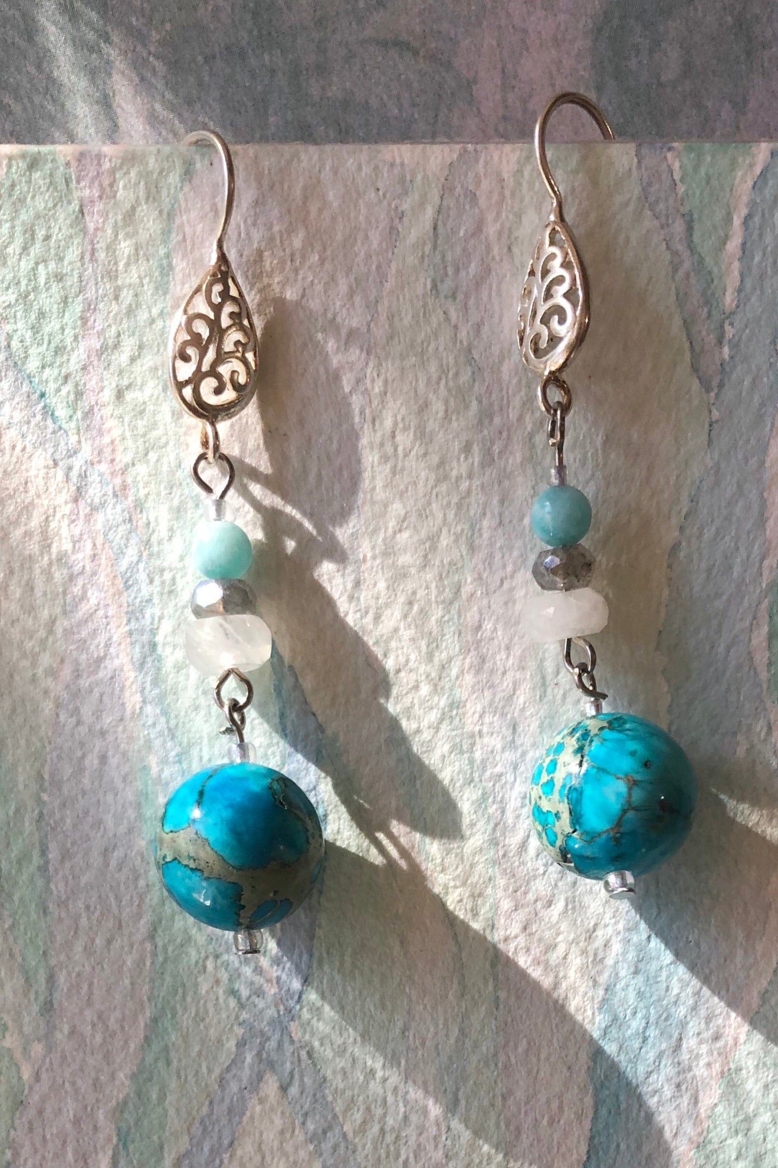 The Serendipity Earrings Turquoise Fairy are handmade in Noosa, Australia featuring Natural Howlite coloured turquoise, Moonstone bead, Labradorite bead and Amazonite bead.