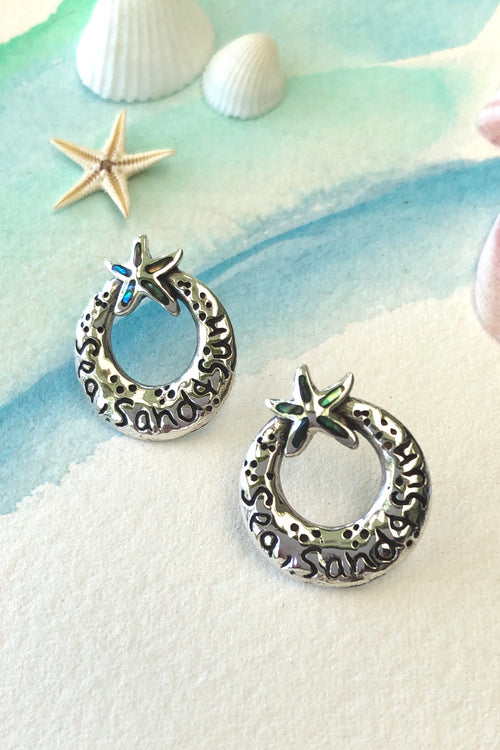 Oracle Silver Seas Earrings Starfish Circle