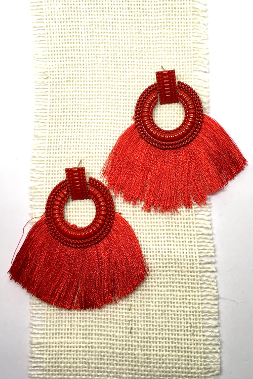 Earrings Adore with Red Fringe