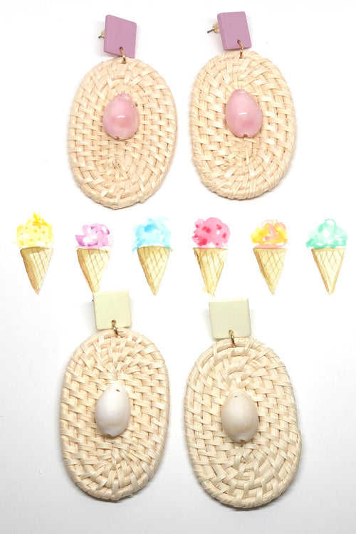 Earrings Rattan Cowrie - Pink or Natural