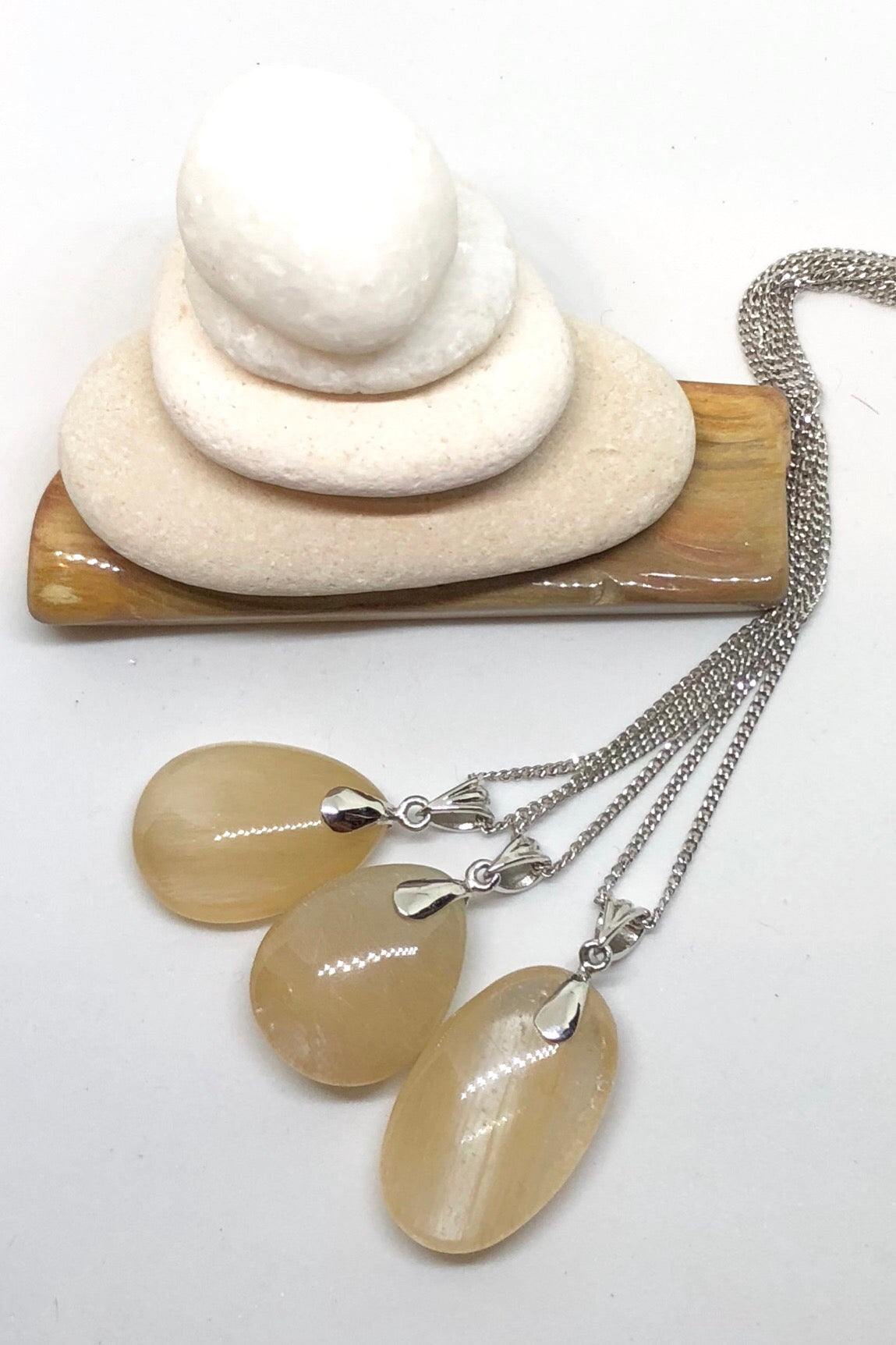 Pendant of Golden Rutilated Quartz on a Silver Chain 2