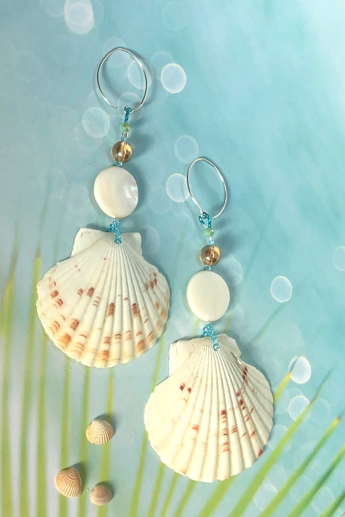 Beach boho perfection to wear natural seashells with summer maxi dresses.