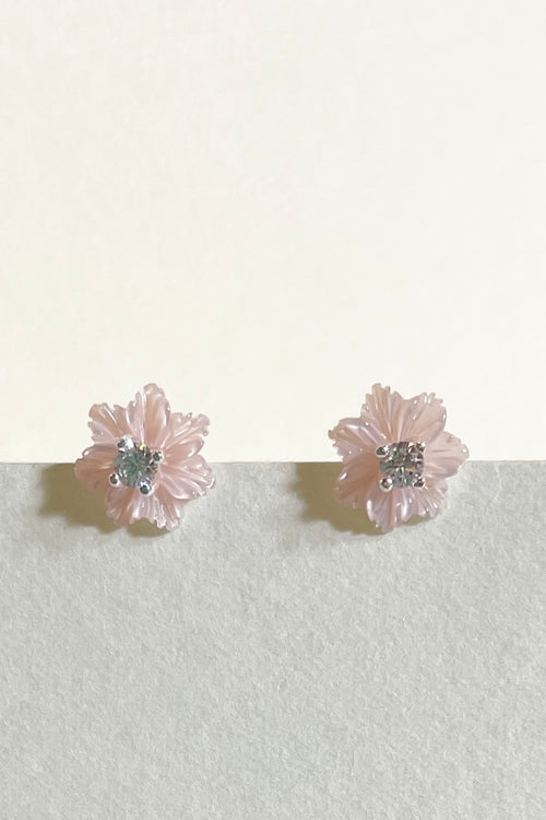 Earrings Tiny Pink Flower in Mother of Pearl