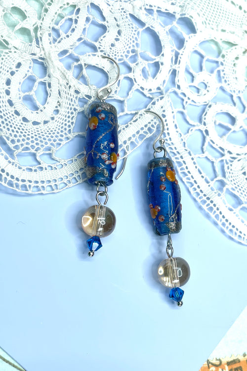 Earrings Serendipity Venetian Blue Gold