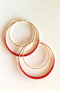 Earring Hoop Red Large