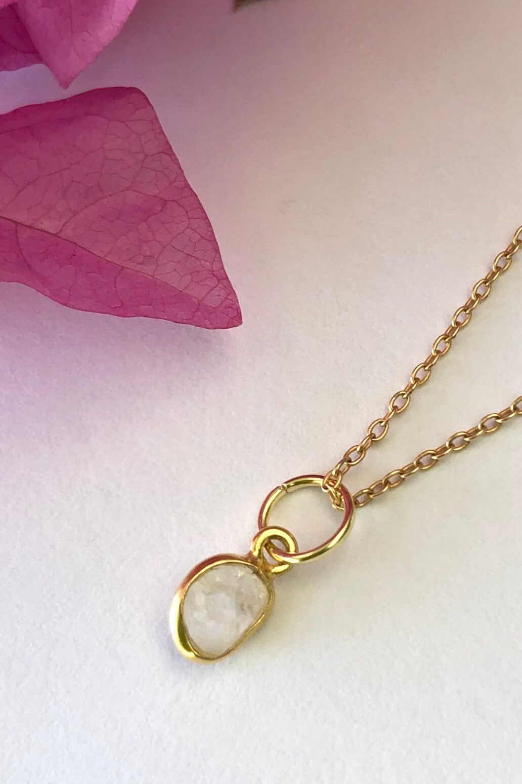 Luna Moonstone Pendant, dainty crystal pendant on gold chain