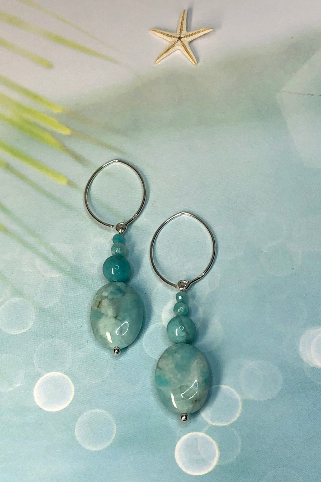 the Earrings Serendipity Amazonite Quatro are a classic drop design, a perfect simple design using the lovely pale minty blue Amazonite in the colour of the sea