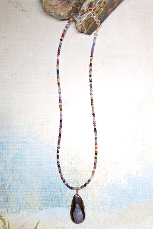 Necklace Cay Opal Spark with Natural Gemstones and Australian Opal Centrepiece