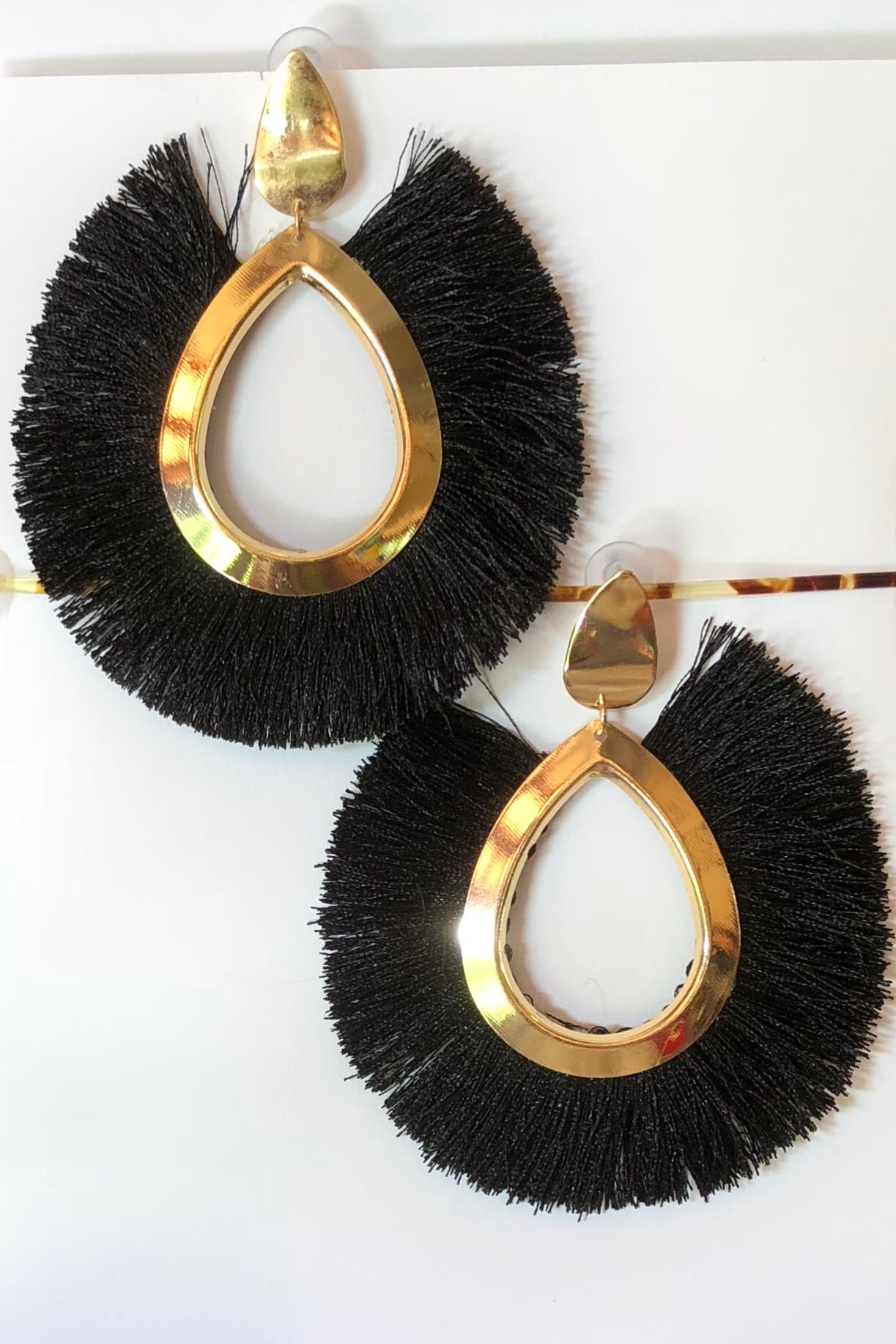Earrings Tassel Wild Black