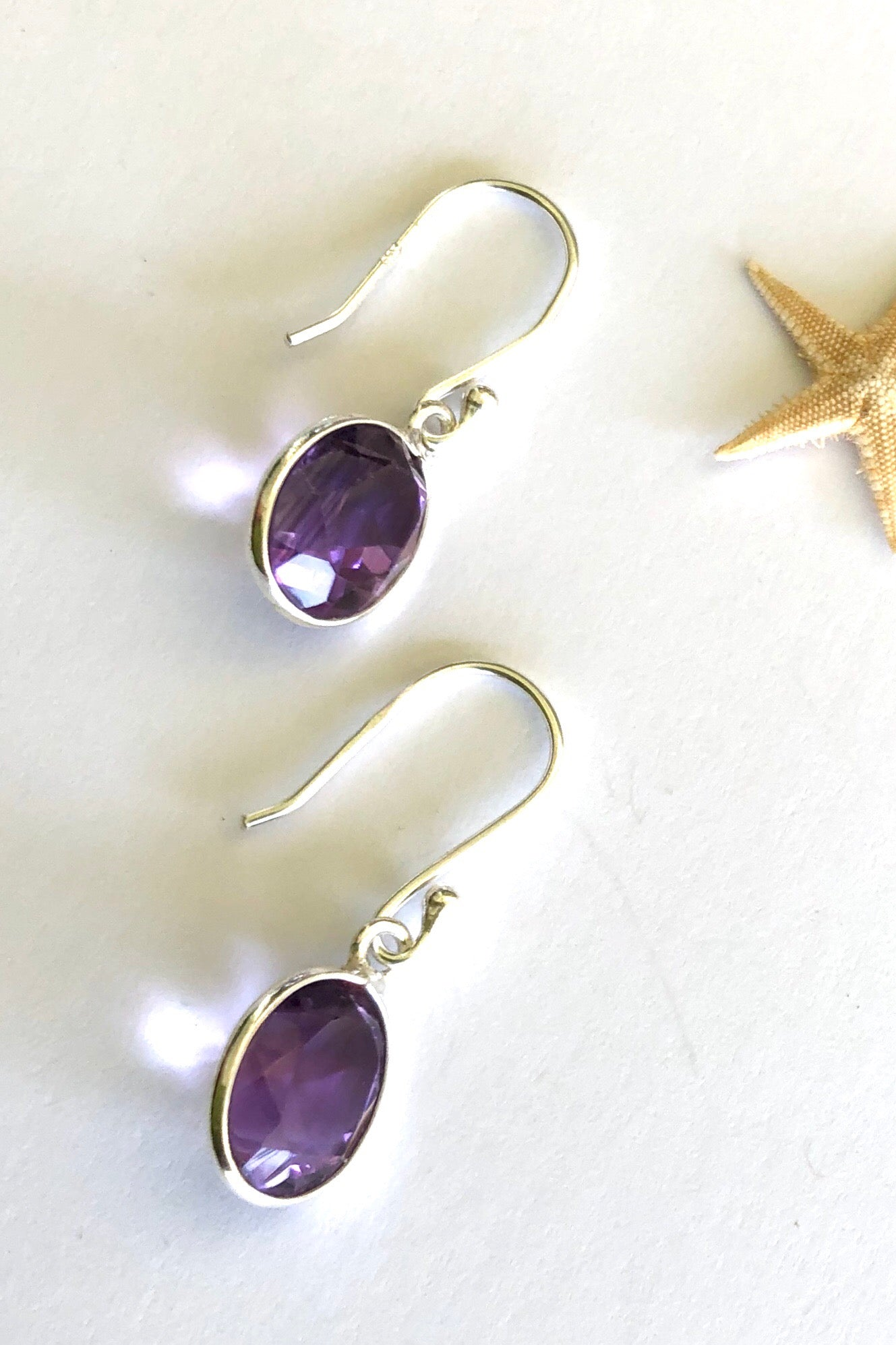 Amethyst Mini Drop Earrings