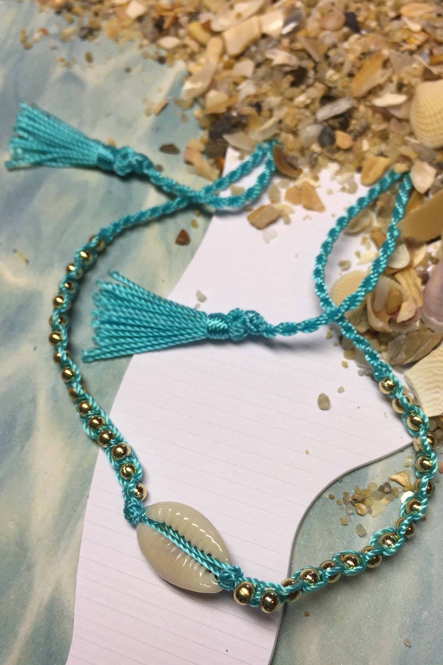 Boho Beach Anklet with beads, hippie ankle decoration, cowrie shell bracelet