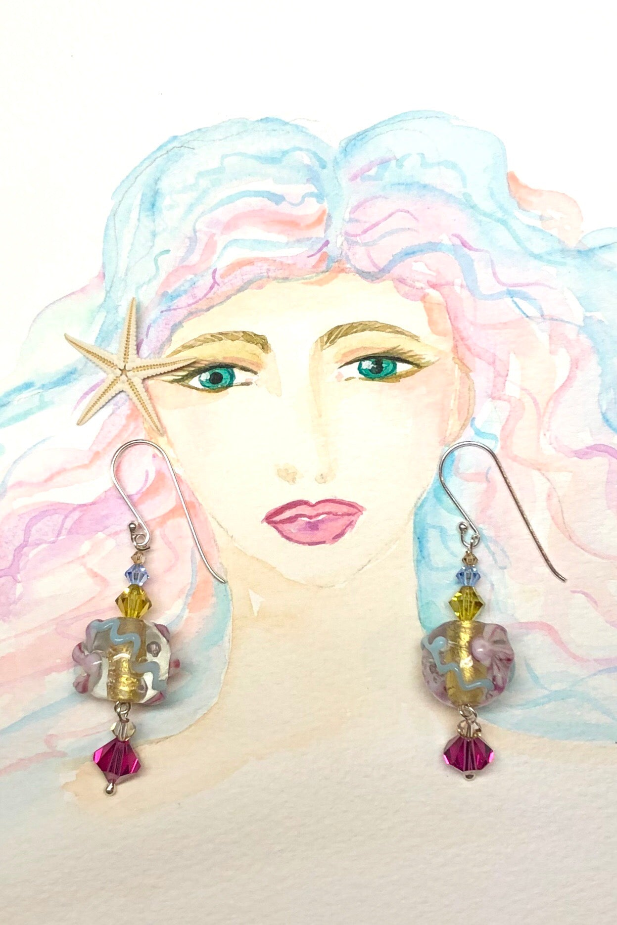 The Serendipity Earrings Venetian Blue are handmade earrings featuring a combination of very old Venetian glass lamp work beads and swarovski Crystal, 925 Silver hook.