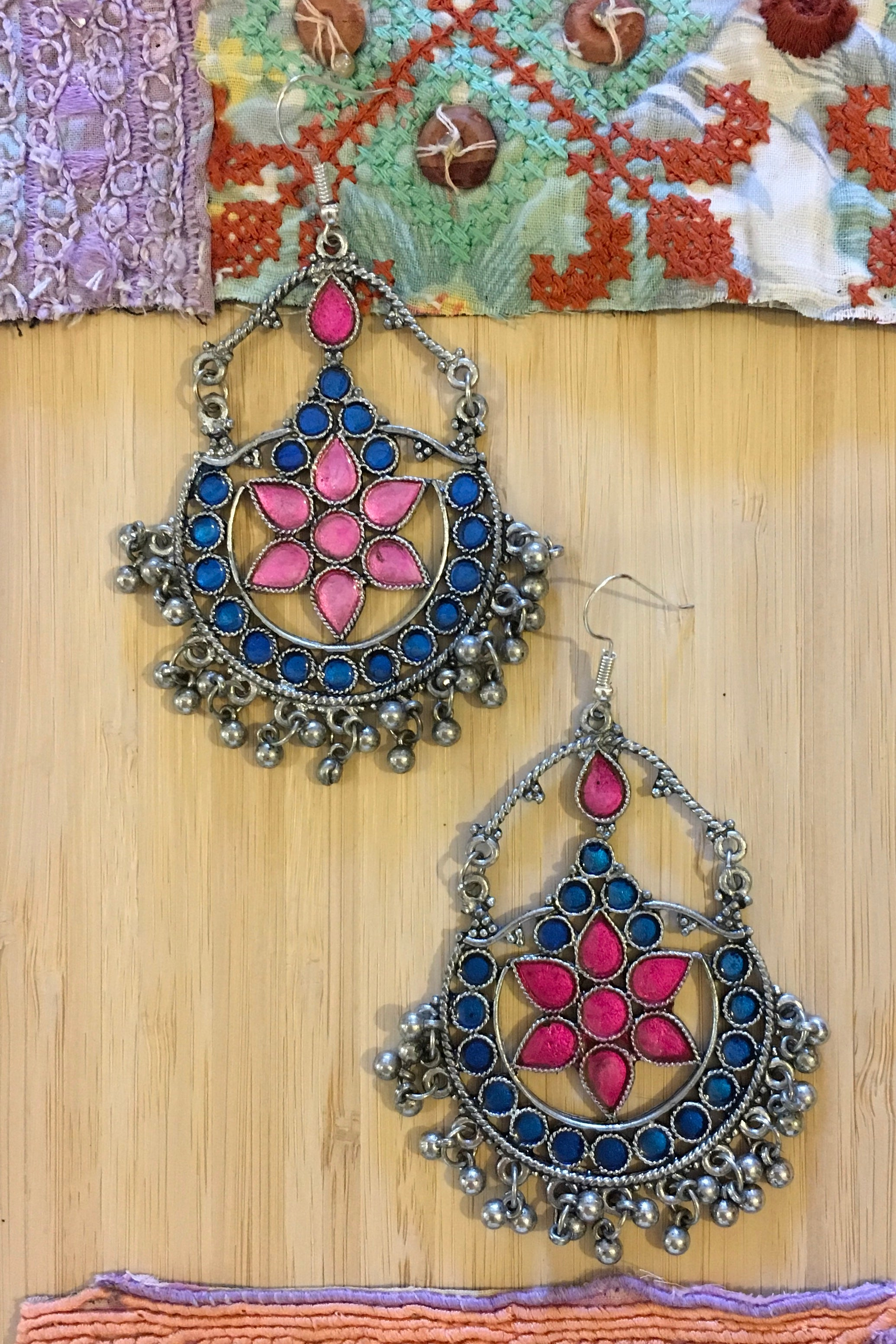 Earrings Gypsy Xmas Turquoise and Pink Inlay